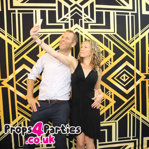 Black and gold photo backdrop hire