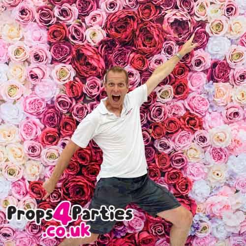Hot pink flower wall