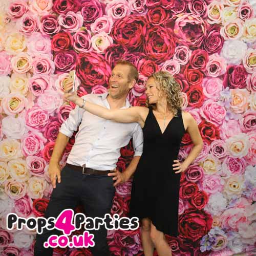 Pink rose flower wall hire